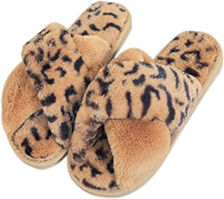 Vpogn Women's Cross Band Soft Plush Fleece House Indoor Outdoor Slippers