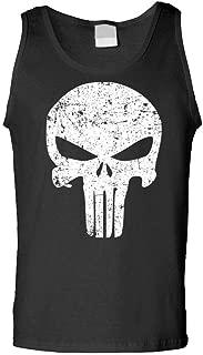Distressed Punisher Skull Mercenary Liberty - Mens Tank Top