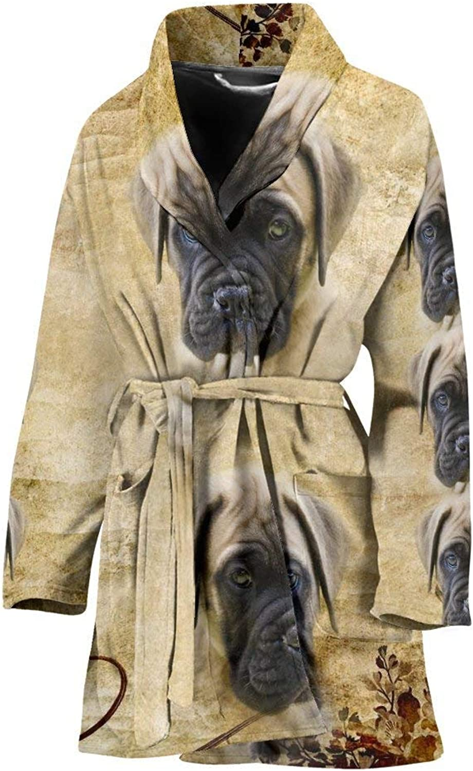 Deruj English Mastiff Puppy Print Women's Bath Robe