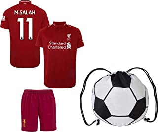 Liverpool Salah #11 Youth Soccer Jersey Home/Away Short Sleeve Kit Shorts Kids Gift Set