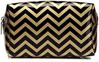 HOYOFO Portable Makeup Pouch Travel Cosmetic Bags Handy Makeup Bag for Women,Black Chevron