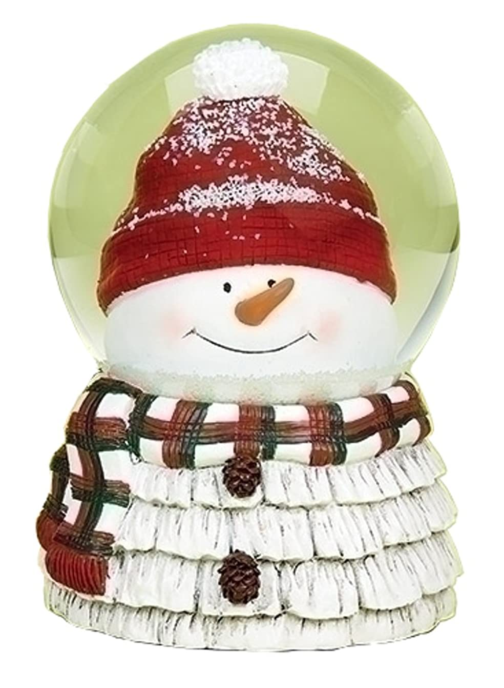 Snowman Head with Red and Green Plaid Scarf Musical 6 Inch Snow Globe Plays
