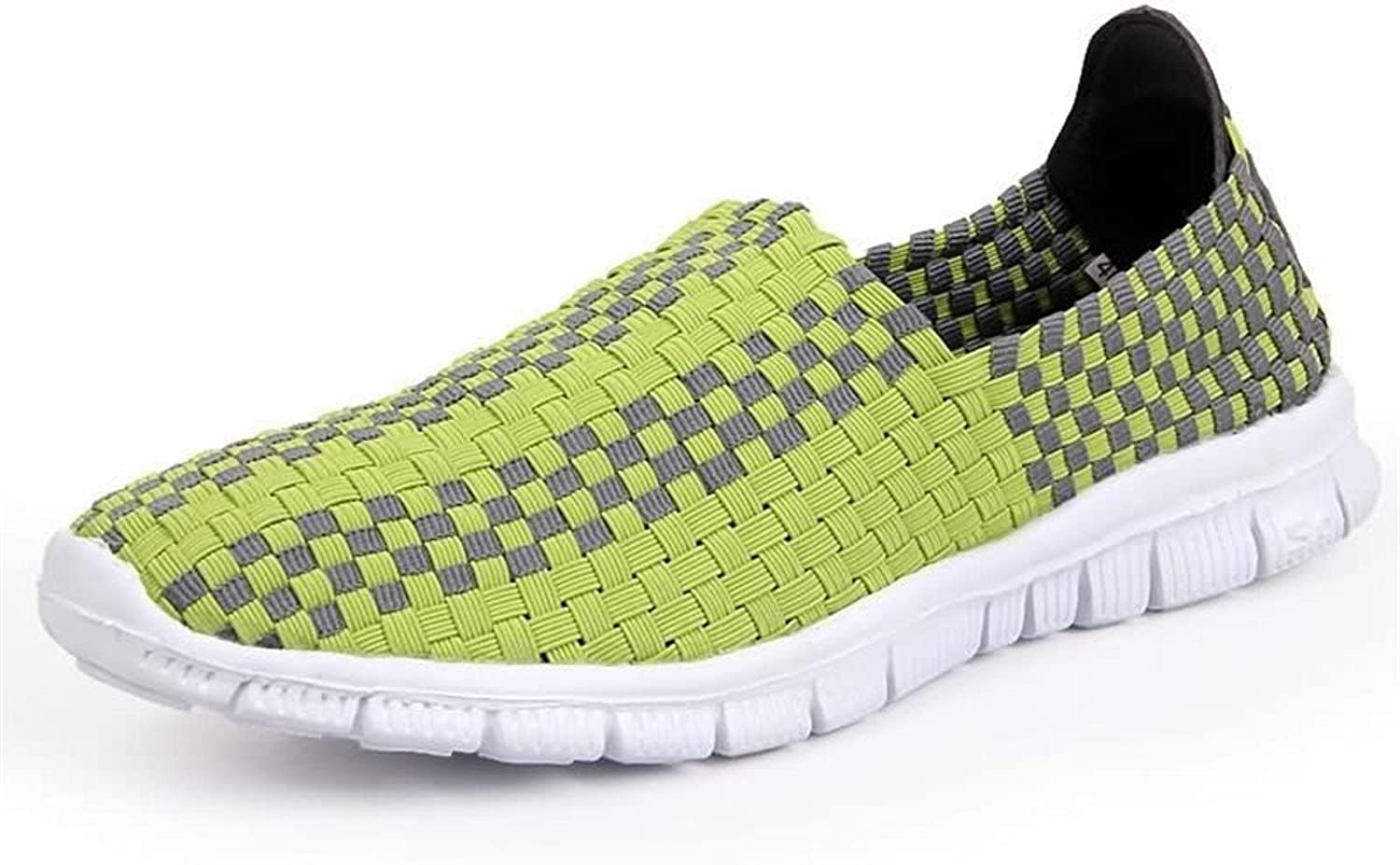 Hilotu Women's and Men's Camouflage Breathable Athletic shoes Grid Pattern Slip On Splice Vamp Leisure Fashion Sneaker Wild Breathable Hand-Knitted shoes (color   Green, Size   6 M US)