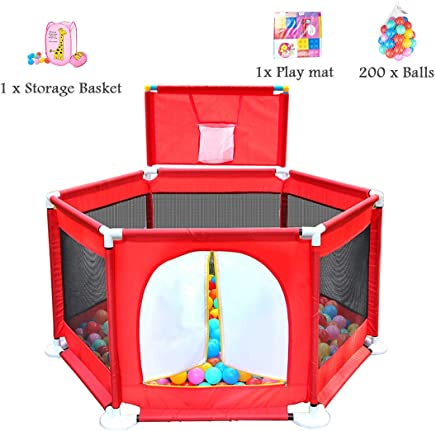 WJSW Baby Toys Ball Pool Toy Fence Indoor Outdoor Crawling Family Room Divider Safety Playpen Activity Area Fence with Storage Basket  Paly Mat  200 Balls 129x66cm Red