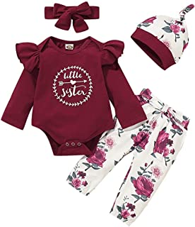 T TALENTBABY Infant Kleinkind Baby Mädchen Langarm Rüschen Bodysuit Strampler  Floral Pants  Bogen Stirnband 3 Stücke Overall Kleidung Outfits Set