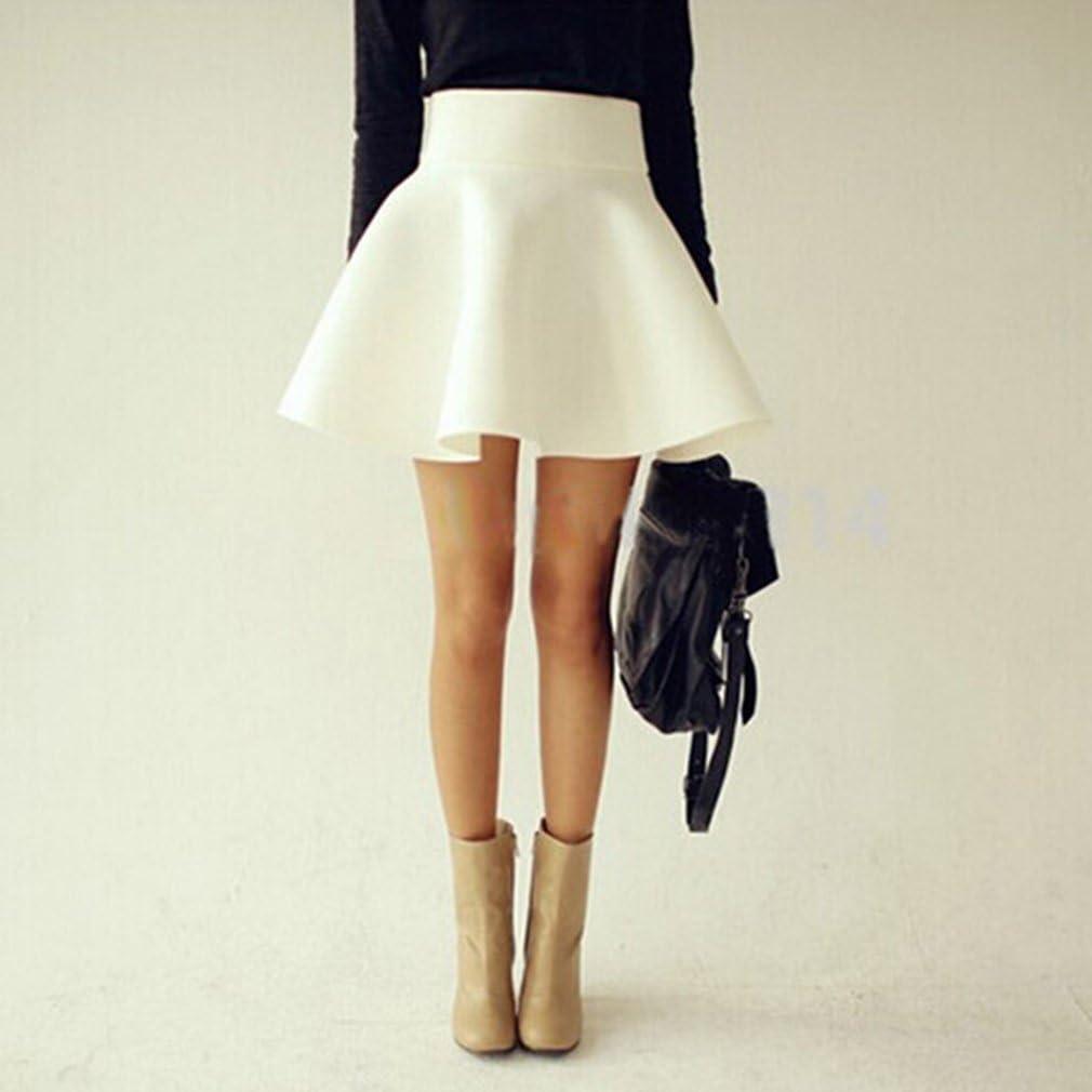 Dolland Women s High Waist Versatile Flared Plain Pleated Casual Mini Skater Skirt,M