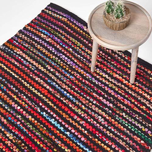 Homescapes Teppich/Bettvorleger Folk, handgewebt aus 100% recycelter Baumwolle, 90 x 150 cm, Flickenteppich mit bunten Streifen