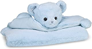 Bearington Baby Huggie Bear Belly Blanket, Blue Teddy Bear Plush Stuffed Animal Tummy Time Mat