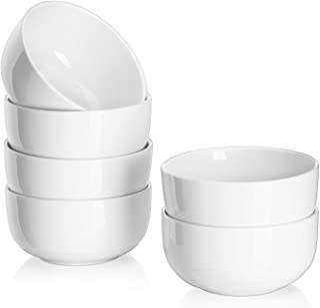 DOWAN Juego de 6 Cuencos de Porcelana, Cantidad de Relleno 300 ml, Cuencos de Aperitivo, Cuencos de Postre, Blanco