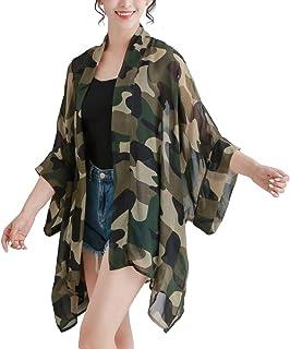 Women's Loose Print Sheer Chiffon Kimono Beach Swim Cover up Cardigan Capes Blouse Tops