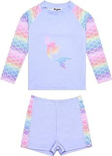 Jxstar Rash Guard for Girls Rashguard 2-Piece Unicorn/Mermaid Swimsuits Swimwear UPF 50+ UV