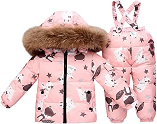 WARMSHOP Baby Girls Two Piece Winter Warm Hooded Fur Trim Snowsuit Puffer Down Jacket with Snow Ski Bib Pants Outfits
