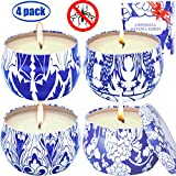 MELOPHY Citronella Candles, Outdoor and Indoor 4 Pack 4.8 Ounce Natural Scented Candles, 100% Pure Soy Wax Citronella Candle, Portable Travel Tin Candle Gift Set