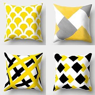 LYTFQ Cojines Decorativas Fundas Cojines 4 Piezas Poliéster Geométrico Amarillo Simple De Moda Funda Cojines para Sofá Dormitorio Salón Oficina Cama O Coche Decoración del Hogar 50X50Cm