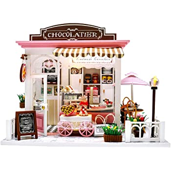 Miniature Dollhouse Kit DIY Dollhouse Wooden Miniature Furniture Kit Mini Pink Chocolate Store with LED Light Sweet Birthday for Adults ,Girls 1:24 Scale with Tools and Dust Cover