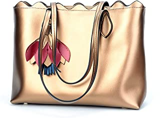 Fashion New Retro Casual Fashion Bills Shoulder Slung Large Capacity Women's Bag Leather Handbag (Color : Gold)