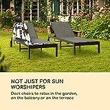 Liegestuhl Sonnenliege Gartenliege mobil mit Rollen höhenverstellbare - 2