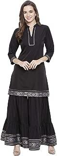 Fabnest Womens Black Brocade Lace Kurta Sharara Set