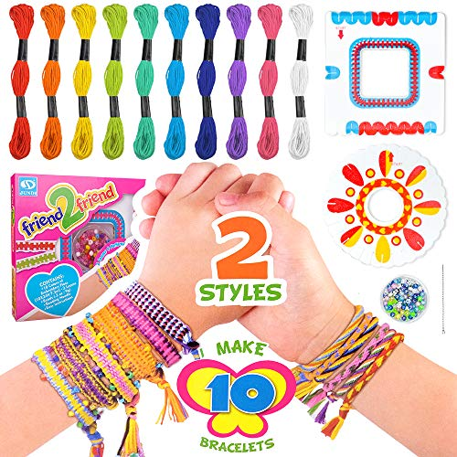 Girls Birthday Gift Age 6 7 8 9, Kids Girl Crafts DIY Friendship Bracelet Making Kit for 5-12 Year Olds Girls Children Art and Crafts Toy Bracelet Ropes Beads Kit for Teen Girl 7-11 Year Old Present