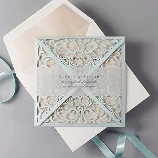 Personalized Dusty Blue and Rose Luxury Laser Cut Lace Pocketfold Wedding Invitation + Wedding Wish Set - SAMPLE!