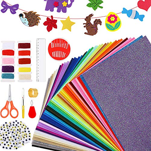 Caydo 42 Colors Felt Sheets, StiffFelt Fabric with Embroidery SewingKit, Adhesive Wiggle Eyes Used for DIY Craftsand Decorative Projects, Christmas Ornament Crafts for Kids and Adults (20cmx30cm)