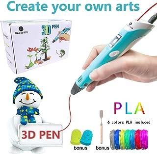 MagicBiu 3D Pen with PLA Filament Refills 3D Drawing Printing Printer Pens Bonus 6 Colors 60 Feet PLA Stencil for Kids and Adults Arts Crafts Model DIY, Compatible with PLA Non-Clogging
