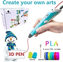 MagicBiu 3D Pen with PLA Filament Refills 3D Drawing Printing Printer Pens Bonus 6 Colors 60 Feet PLA Stencil for Kids and Adults Arts Crafts Model DIY, Compatible with PLA Non-Clogging