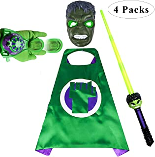 Fundisinn Cartoon Superhero Costume 4 Packs Light Mask & Satin Cape & & Adjustable Sword & Fire Gloves Dress Up Costumes for Kids