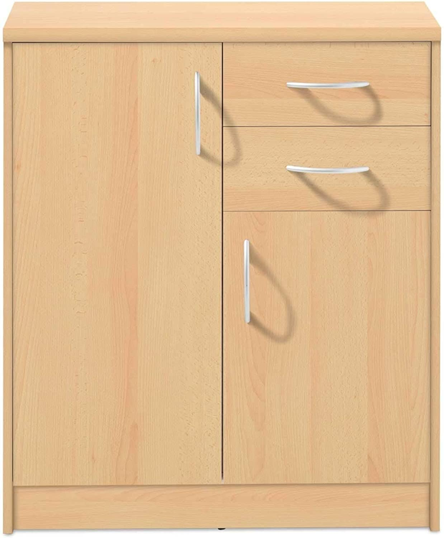 Kommode Highboard Mehrzweckschrank Burton 12  Dekor  Buche  2 Türen  2 Schubladen