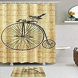 AIKIBELL Juego de Cortinas y tapetes de Ducha de Tela,Bicicleta Vintage Linda con pájaro,Cortinas de baño repelentes al Agua con 12 Ganchos, alfombras Antideslizantes