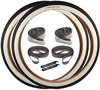 OEM Beach Cruiser 927 Durable Wire Bead White Sidewall Whitewall 26 x 2.125 Replacement Bike Tyre Tub Rim Strip Lever Kit Bundle