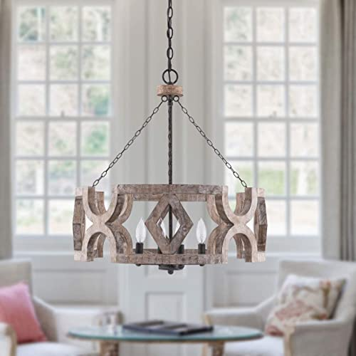 high quality 4-Light Candle Farmhouse Drum Chandelier, Rustic Chandelier Adjustable Height for popular Dining Room, Kitchen, Living Room, high quality Weathered Wood outlet online sale