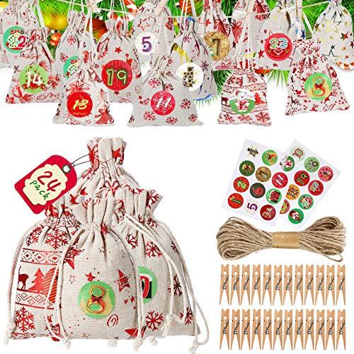 GLOBAL GOLDEN Adventskalender zum Befüllen Elegant Design Weihnachtskalender zum BefüllenDIY Adventskalender 2020,24 Weihnachtskalender Bastelset,Stoffbeutel mit 1-24 Stücke Adventszahlen Aufkleber