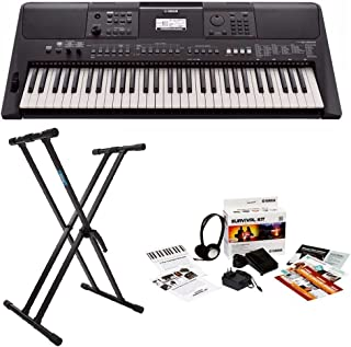 Yamaha PSRE463 61-key high-level Portable Keyboard with Knox Double X Stand and Survival Kit