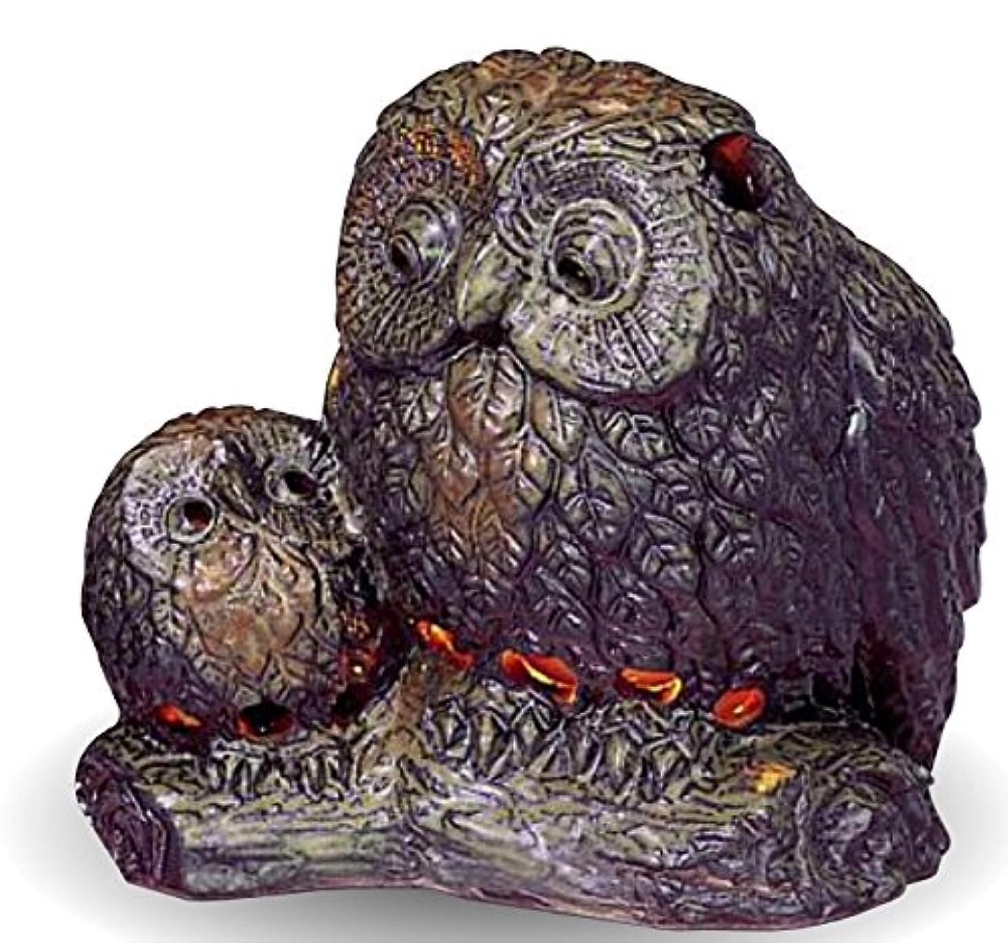 町オーストラリア人熟読する常滑焼 茶香炉(アロマポット)親子フクロウ 径12.5×高さ13cm