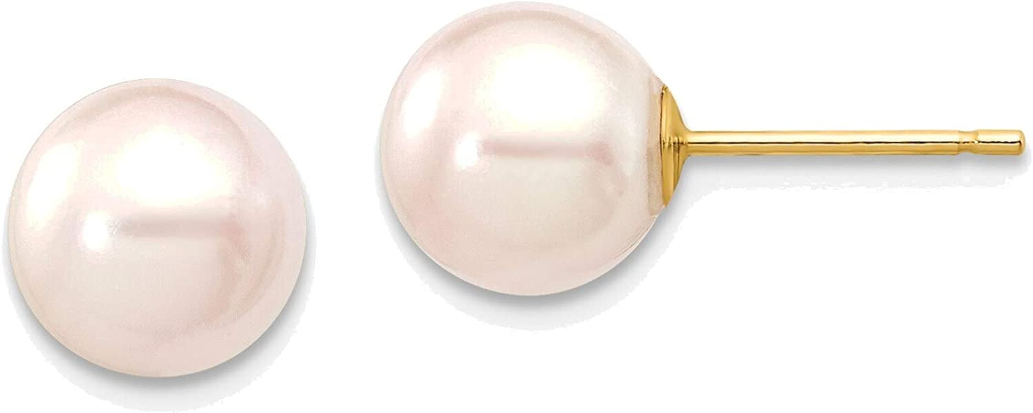 7-8mm Round White Saltwater Akoya Cultured Pearl Stud Post Earrings in 14K Yellow Gold