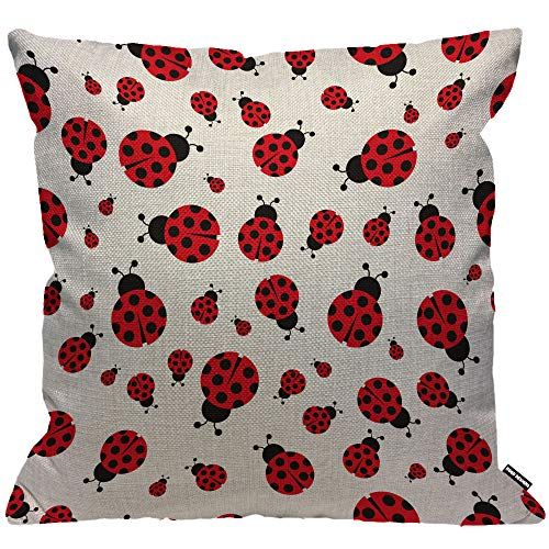 HGOD DESIGNS Cushion Cover Ladybug Ladybird Seamless Pattern Throw Pillow Cover Home Decorative for Men/Women/Boys/Girls living room Bedroom Sofa Chair 18X18 Inch Pillowcase