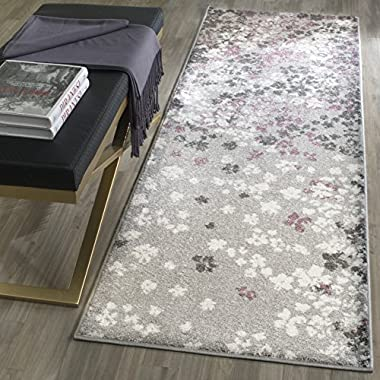 Safavieh Adirondack Collection ADR115M Light Grey and Purple Contemporary Floral Runner (2'6  x 8')