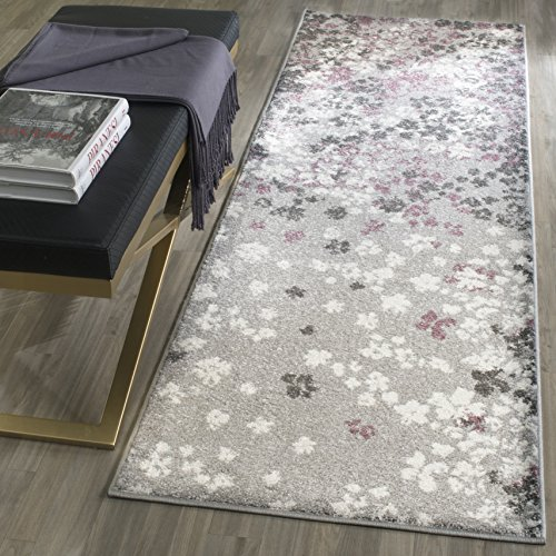 Safavieh Adirondack Collection ADR115M Light Grey and Purple Contemporary Floral Runner (2'6' x 8')