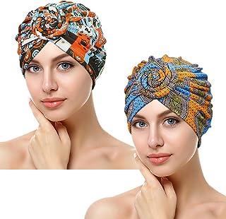 ASHILISIA 2 Pieces African Pattern Knot Headwrap, Pre-Tied Bonnet Turban Beanie Cap for Women