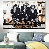 Arte de pared 50x70 cm Sin marco Tres monos inteligentes Arte de pared Graffiti Arte callejero Impresión de imagen Sala de estar Cartel de mono divertido Decoración del hogar