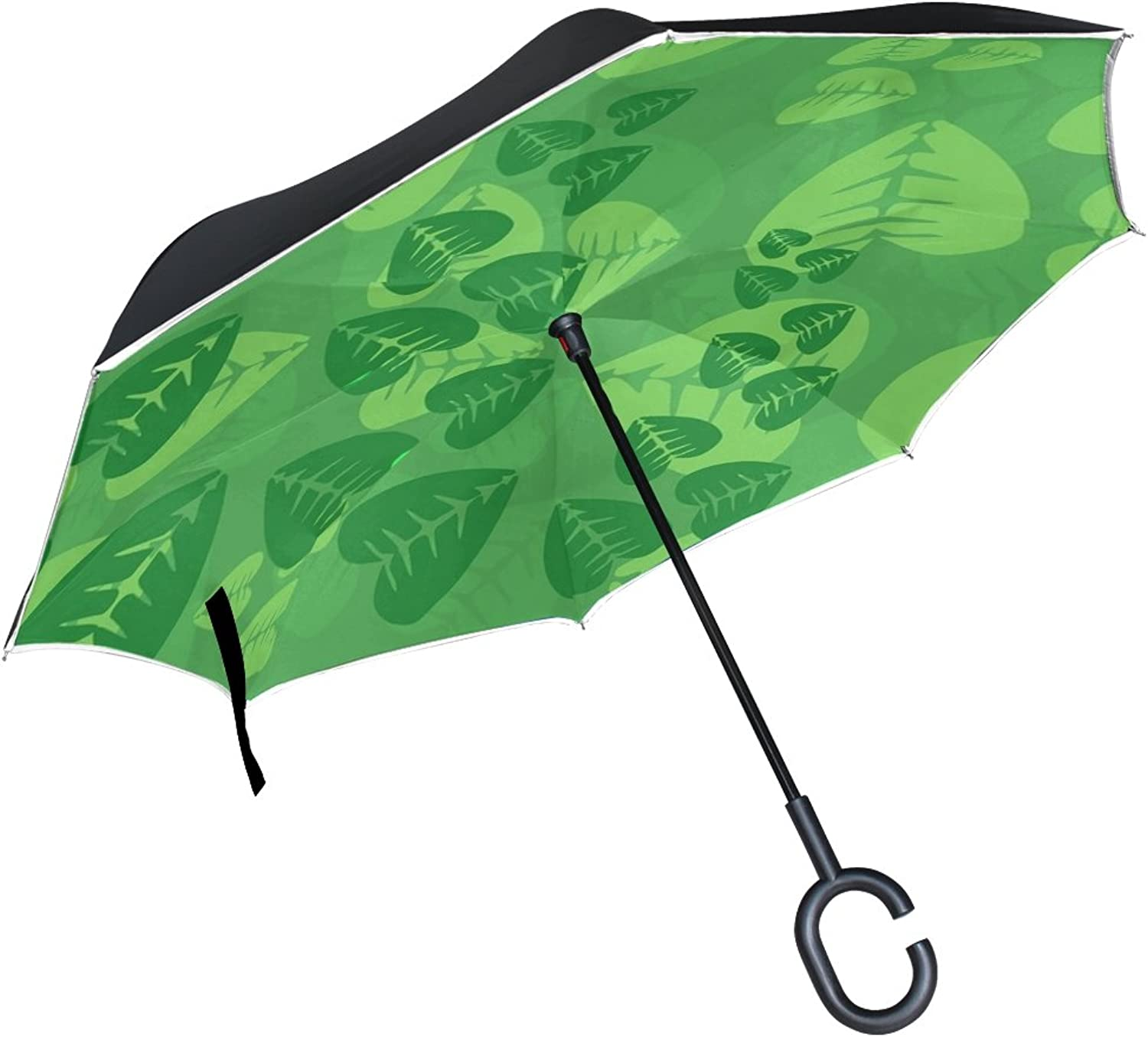 Double Layer Ingreened Leaves Leaf Green Spring Nature Umbrellas Reverse Folding Umbrella Windproof Uv Predection Big Straight Umbrella for Car Rain Outdoor with CShaped Handle
