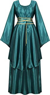 Famajia Womens Medieval Renaissance Costume Cosplay Victorian Vintage Retro Gown Long Dress