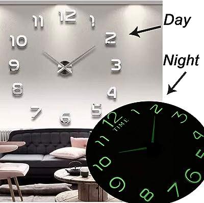 新しい発光壁時計大時計時計時計3 d DiyアクリルミラーステッカークォーツデュバルSaat Klock現代ミュート