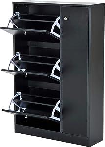 Homcom Armoire Meuble à Chaussures Multi-rangements 3 abattants et 5 casiers Double Niveau 80L x 24l x 120H cm Noir