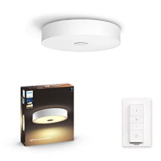Philips Hue Fair White Ambience Smart Ceiling Light LED with Bluetooth, White & Dimmer Switch- Home, Indoor, Living Room, ...
