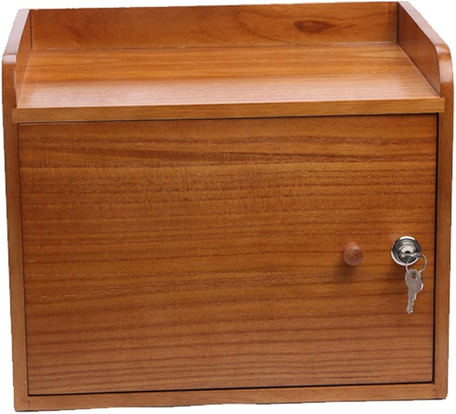 Cabinets File Cabinet Office Supplies Storage Box Desktop Solid Wood Storage Cabinet with Lock Simple Creative Rack File Information File Cabinets (color   Wood, Size   38  27  30cm)