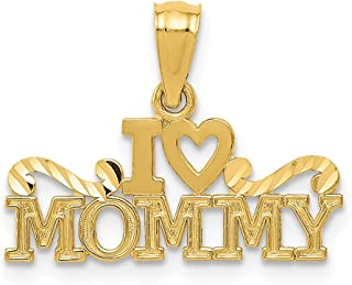 14k Yellow Gold I Heart Mommy Pendant Charm Necklace Love S/love Message Fine Jewelry For Women