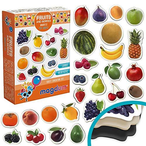 MAGDUM Frutti&Bacche Calamite Bambini Foto realistiche–Grandi Calamite frigo Bambini– Magneti per Bambini –Giochi Bambini 3 Anni –Giochi educativi Calamite per Bambini -Magneti per TEATRO Magnetico