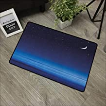 Meeting room mat W16 x L24 INCH Night,Moon and Stars over Santa Barbara Channel Infinity Foggy Pacific Ocean, Dark Blue Sky Blue White Our bottom is non-slip and will not let the baby slip,Door Mat Ca